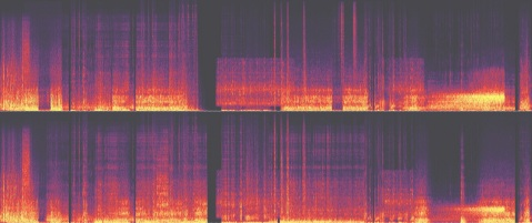 "Waveform from a sine wave composition, ""Wave Hello to Outsiders."" Rendered in Adobe Audition."