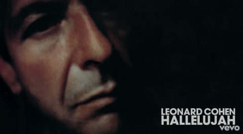 "Screenshot of Leonard Cohen's ""Hallelujah"" video on YouTube"