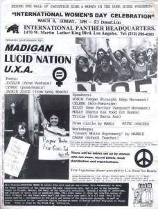 Flier advertising an International Woman's Day celebration featuring Lucid Nation. Image used with permission by the author.