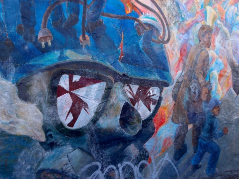 Image of the People's History of Telegraph Avenue mural, designed by Osha Neumann, painted in 1976, restored and enlarged in 1999, at the corner of Haste and Telegraph in Berkeley. Image by Flickr user nursenicole329. Attribution-NonCommercial-NoDerivs 2.0 Generic (CC BY-NC-ND 2.0)