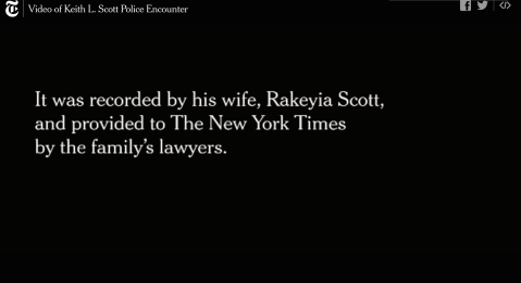still from NYT publication of Rakeyia Scott's video of the police murder of her husband, Keith Lamont Scott