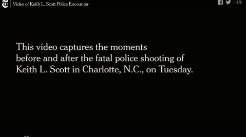 still from the NYT's publication of Rakeyia Scott's video of the police murder of her husband, Keith Lamont Scott