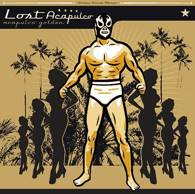 Lost Acapulco's LP Acapulco Golden cover art by Dr. Alderete (2004). Masks became a famous trait of Mexican surf music. Danny Amys from Los Straitjackets and some Lost Acapulco members wear them on stage, as well as many other surf bands. This cover echoes films from the 50s and 60s featuring wrestlers like Santo and Blue Demon.