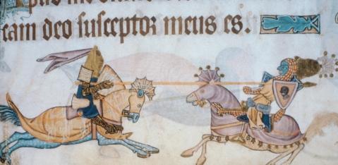 Richard battles Saladin, Luttrell Psalter, BL42130, 4v