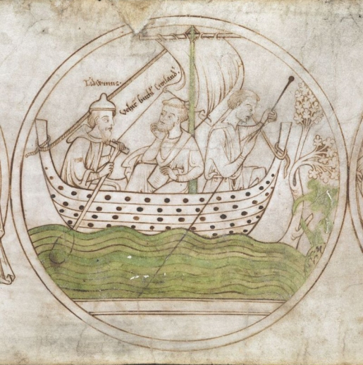 Guthlac sailing to Crowland with Tatwin. © British Library, Harley Roll, Y 6, roundel 4, from Medieval Histories.com