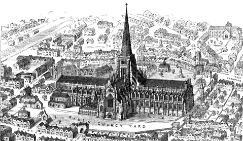 Etching of Old St. Paul's Cathedral, London, from Francis Bond's Early Christian Architecture, 1913.
