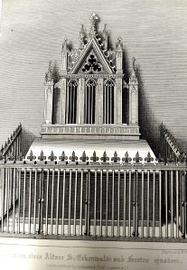 University of Leicester Special Collections. The Shrine of Saint Erkenwald, which was in the shape of a pyramid, with an offering-table before it, and was adorned with gold, silver and precious stones. From SCT 00908, William Dugdale, The History of St. Pauls Cathedral in London : From its Foundation Untill these Times …, (London, 1818)