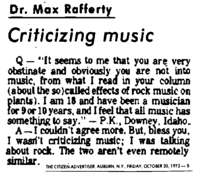 Criticizing Music, Dr Max Rafferty, Effects of Rock Music on Plants